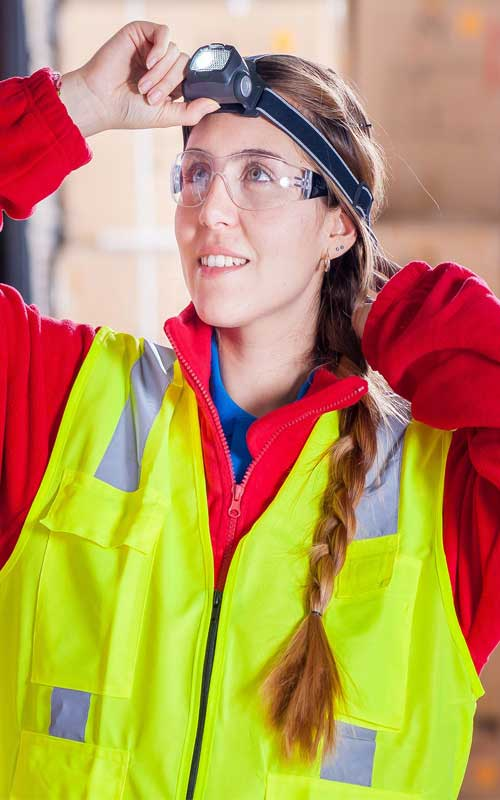 A photo of a safety consultant who would provide safety compliance audits for manufacturing to compare with OSHA regulations.