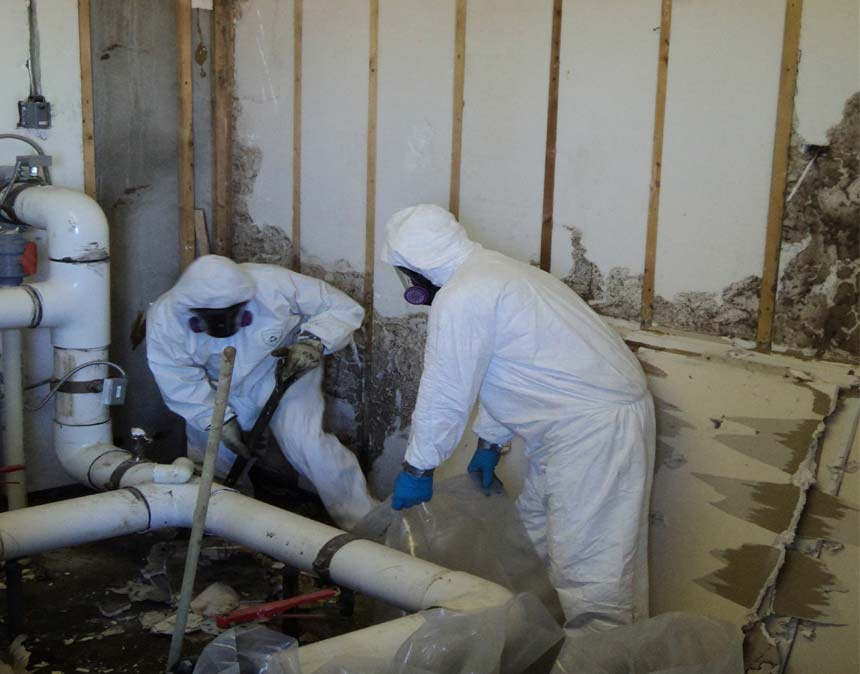A photo of iSi performing mold remediation at a construction site.