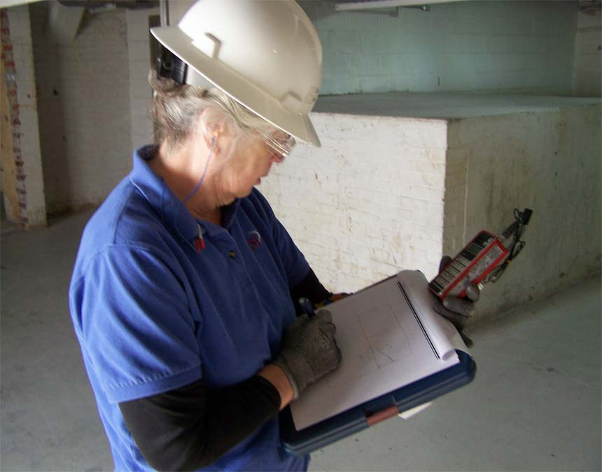 An iSi industrial hygienist conducts noise area monitoring