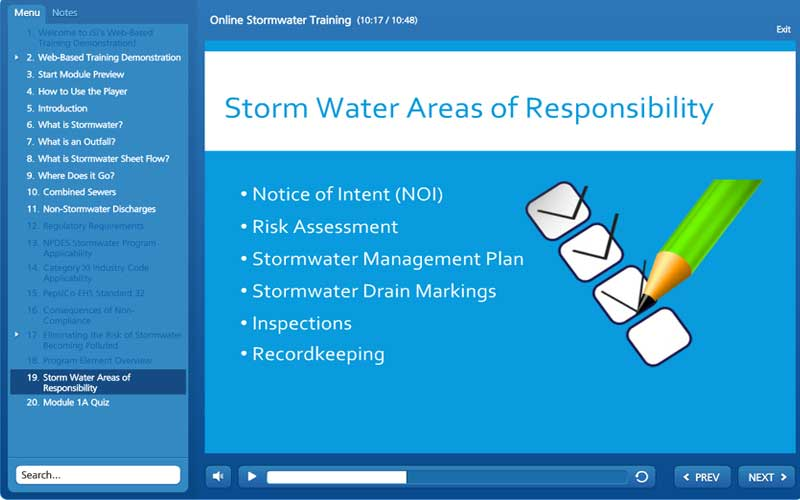 A screenshot of environmental and safety online training