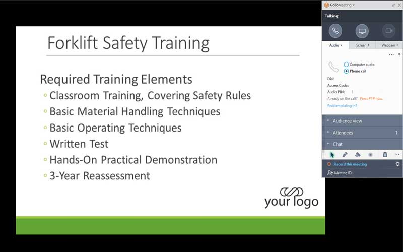 Screenshot of environmental and safety training webinar