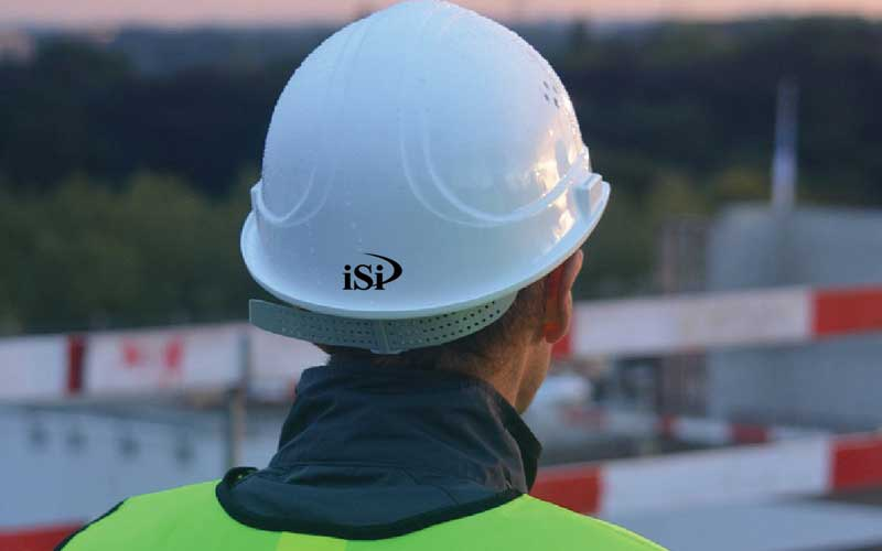 Photo of an iSi Environmental safety professional conducting a jobsite safety inspection.