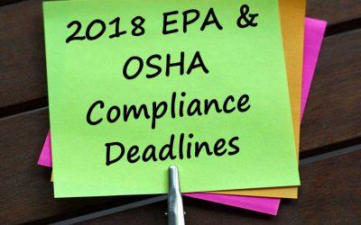 2018 EPA and OSHA Compliance Deadlines